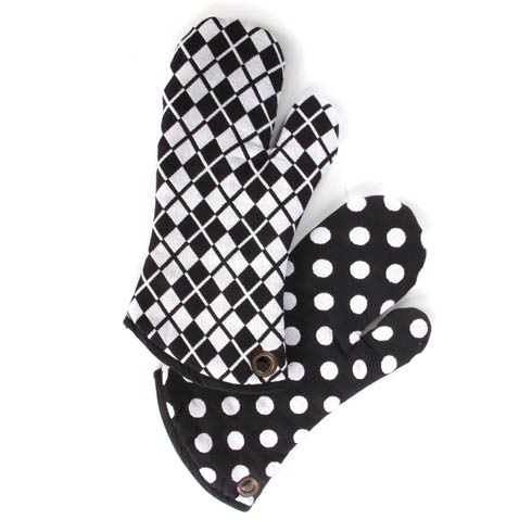 $36.00 Black & White Dot Oven Mitts - Set of 2