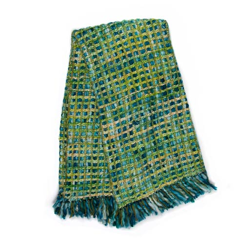 $135.00 Basket Weave Throw - Peacock