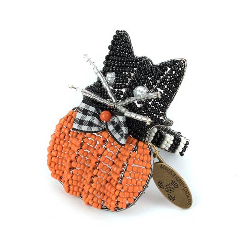 $12.00 Cat On Pumpkin Napkin Ring