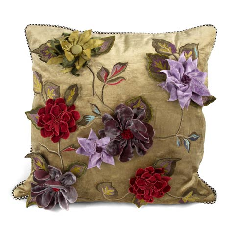 $175.00 Greengage Floral Square Pillow