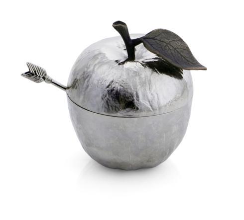 $95.00 Apple Honey Pot w/ Spoon Nickelplate