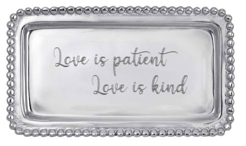 $39.00 LOVE IS PATIENT LOVE IS KIND Beaded Statement Tray