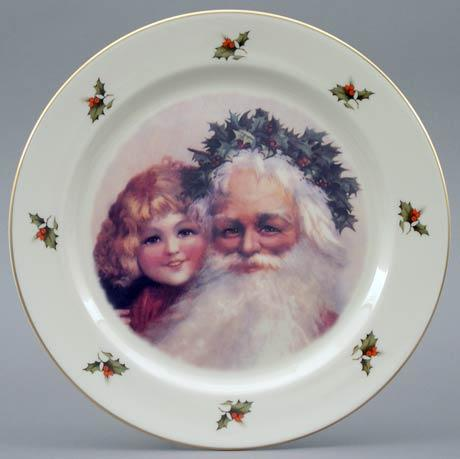 $24.00 Santa with Little Girl Plate