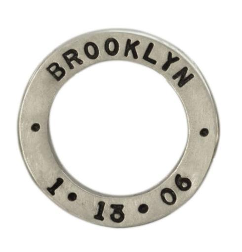$205.00 Silver Name And Date Open Circle Charm