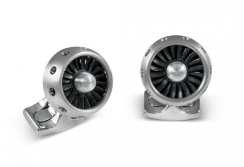 $360.00 Jet Turbine Engine Cufflinks Brushed Aluminum