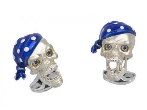 $695.00 Pirate Skull Cufflinks With Blue Bandana And Sapphire Eyes