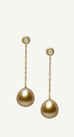 $3,290.00 Golden South Sea Pearl and Diamond Drop Earrings