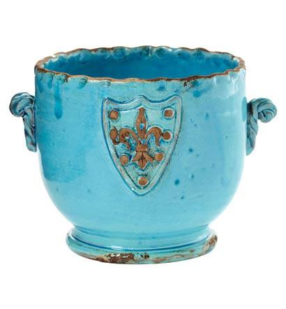 $69 Terrace Turquoise Cachepot with Emblem