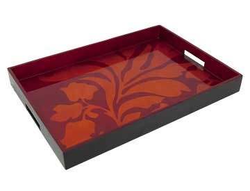 Big Tray, Damask in Orange/Red