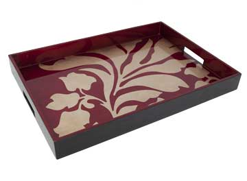 Big Tray, Damask in Red/Coffee