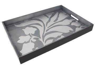 Big Tray, Damask in Silver/Blue