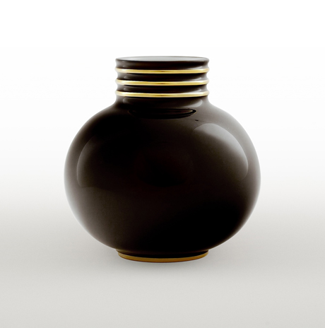 Arienne Small Vase, Black/Gold