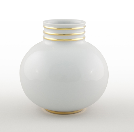 Arienne Small Vase, White/Gold
