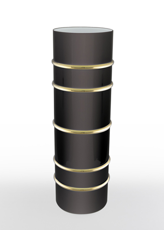 Arienne Tall Cylinder Vase, Black/Gold