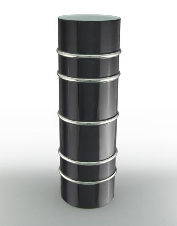 Arienne Tall Cylinder Vase, Black/Platinum