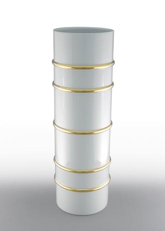Arienne Tall Cylinder Vase, White/Gold