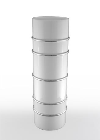 Arienne Tall Cylinder Vase, White/Platinum