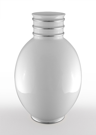 Arienne Egg Vase, White/Platinum