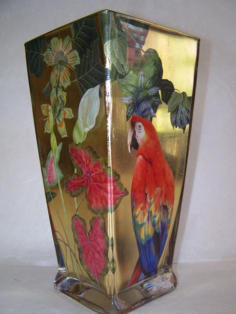 Flared Square Vase Red Parrot with Tropical Flowers on Gold