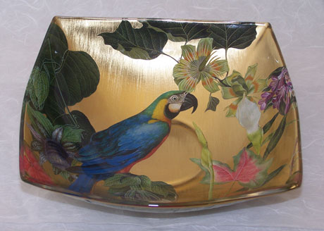 Flared Edge Square Bowl Blue Parrot with Tropical Flowers on Gold