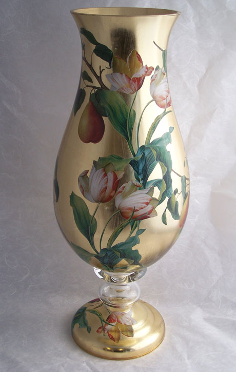 Tulip Vase Tulips with Pears on Gold