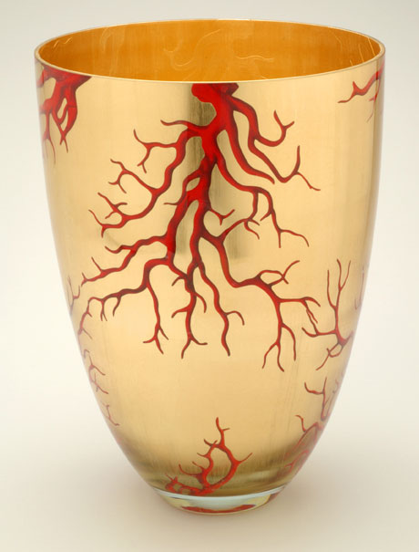 Contemporary Vase Red Coral on Gold