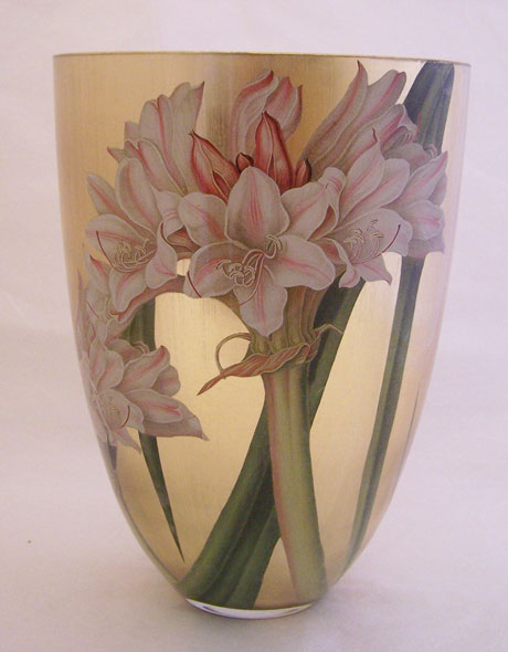 Contemporary Vase Lillies on Gold
