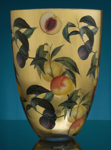 Contemporary Vase Peach and Plum on Gold