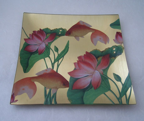 Square Tray Goldfish and Waterlily on Gold