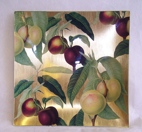 Square Tray Light and Dark Nectarines on Gold