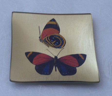 Square Tray Butterflies on Gold