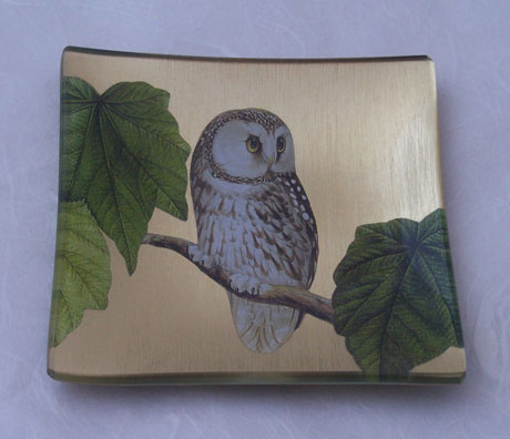 Square Tray Owl on Gold