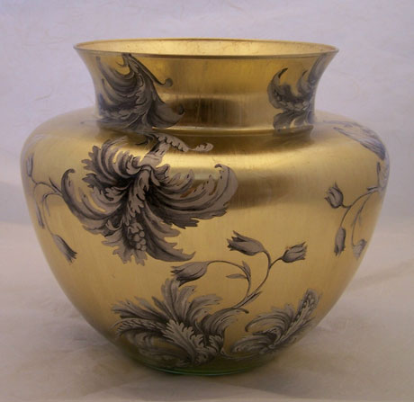 Ginger Jar Vase Damask on Gold