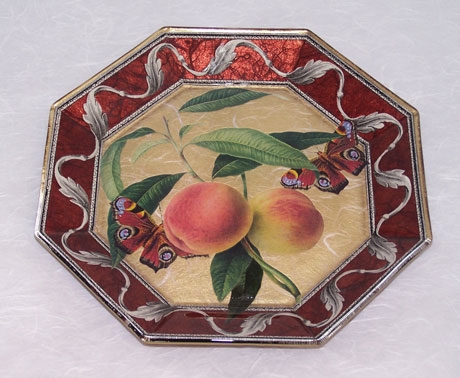 Octagonal Plate Peaches and Butterflies with Damask on Colored Leaf