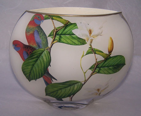 Moon Vase Exotic Bird with Magnolia on White