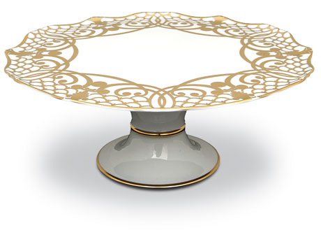 Alencon 24kt Gold Footed Cake Plate