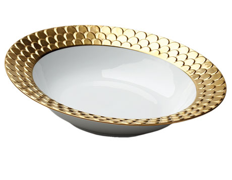Aegean Gold Round Serving Bowl
