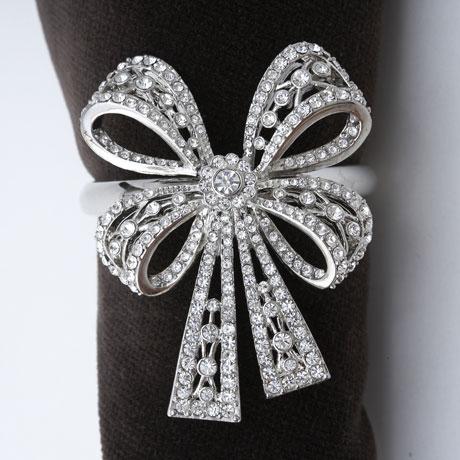 Antique Platinum Bowtie with White Swarovski Crystals - Set of 4