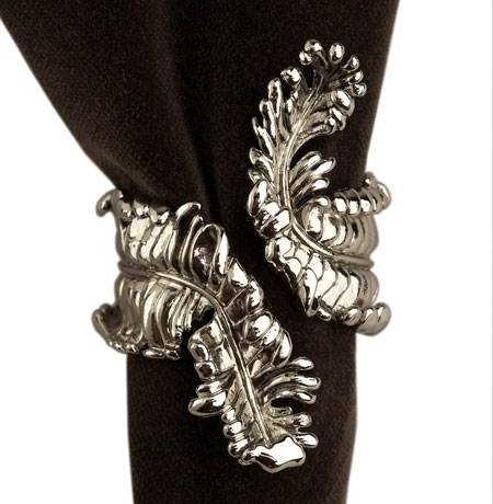 Acanthus Napkin Rings, Platinum, Set of 4