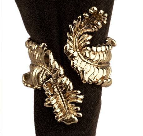 Acanthus Napkin Rings, Gold, Set of 4