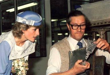 Lady Diana visiting Royal Brierley Crystal