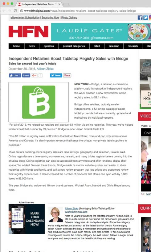 HFN Magazine: Bridge Crosses $2 Million in Registry Sales