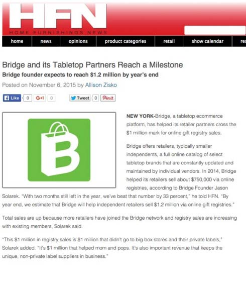 HFN Magazine: Bridge Passes $1 Million Milestone in Registry Sales