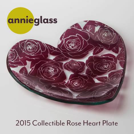 Annieglass Rose Heart Plate