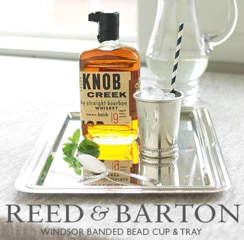 Reed & Barton Windsor Banded Bead Cup & Tray