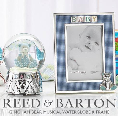 Reed & Barton Gingham Bear Musical Water Globe