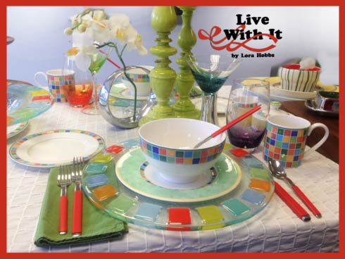 This Summery table was set yesterday at our Gift Store on Main Street in Pittston Pennsylvania --- featuring Twist Alea Dinnerware and Glassware; ... & Official News for Live With It by Lora Hobbs from Bridge Catalog ...
