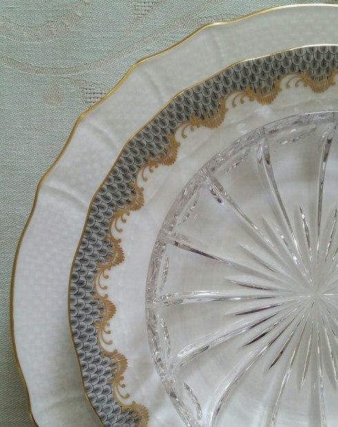 Herend Fish Scale Gray Dessert Plate