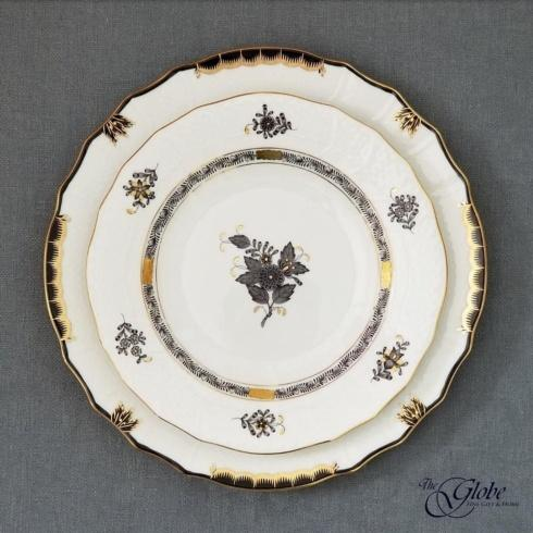 Herend Princess Victoria Black Dinner and Chinese Bouquet Black Dessert Plates