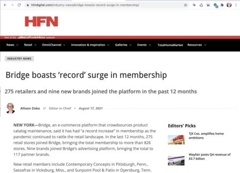 HFN: Bridge Experiences Record Growth